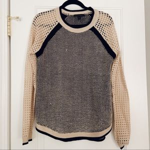 Crew Neck Sweater with Open Knit Sleeves